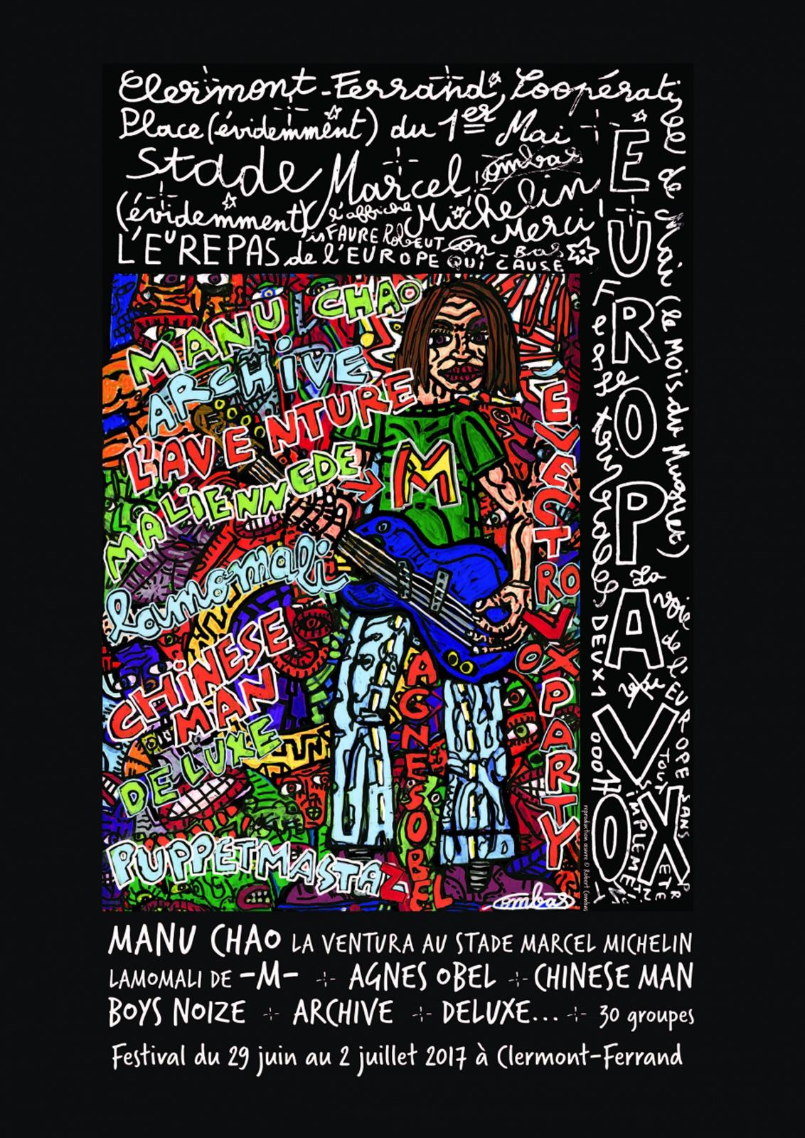 la superbe affiche du festival réalisé par Robert Combas, figure majeur de l'art contemporain français