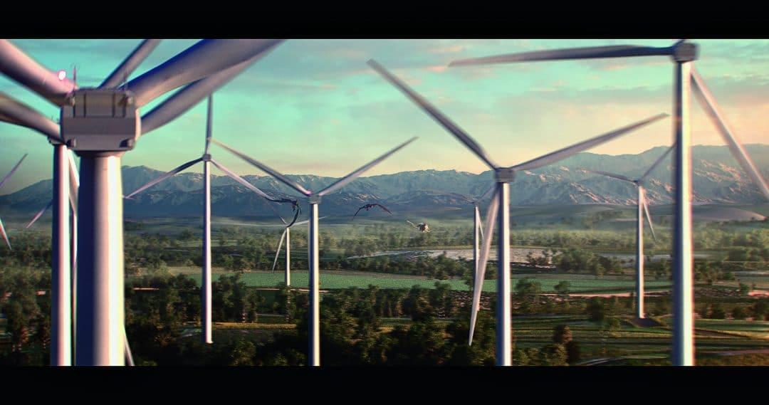 Extrait de la publicité The Race, EDF 2017, éoliennes
