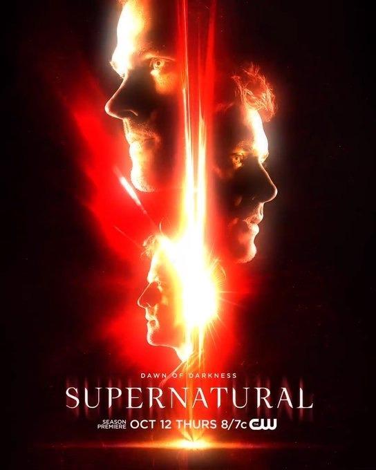 """L'affiche de la saison 13 """" Dawn of the Darkness"""" de Supernatural avec Sam, Dean et Castiel"""